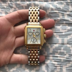 Michele deco watch case gold with diamonds